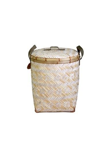 Kanca Ev El Yapımı, Doğal Malzemeden Bambu Beyaz Örgü Desenli, Deri Saplı, Sert Hasırdan Kapaklı Çamaşır Sepeti, Büyük Beyaz